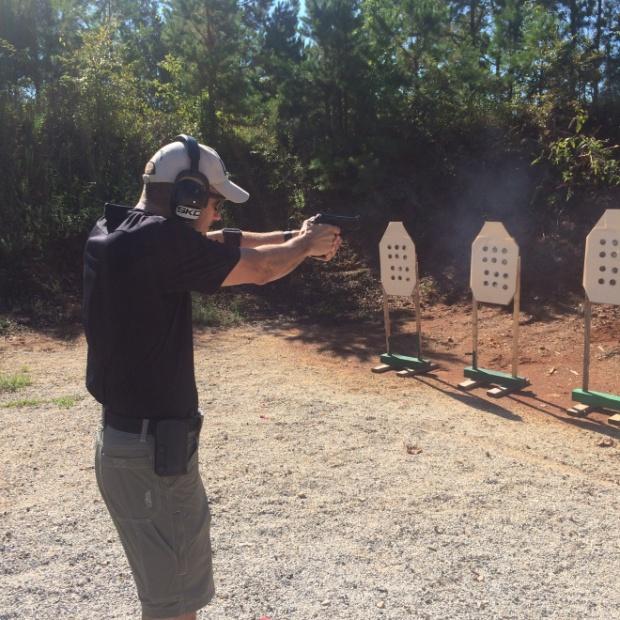 Ernest Langdon shooting a demo.