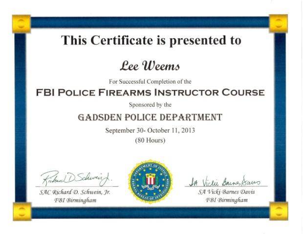 FBI Firearms Instructor Certificate (1)