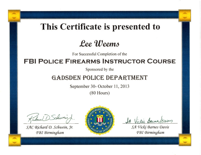 FBI Firearms Instructor Certificate (1)